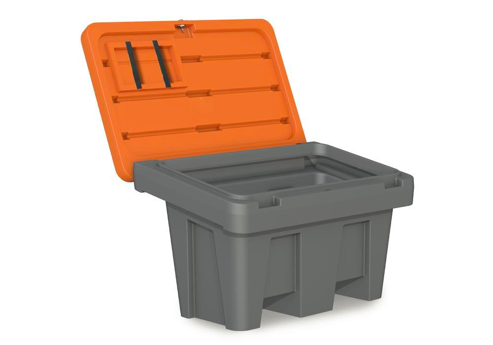 Streugutbehälter Typ GB 150 aus Polyethylen (PE), 150 Liter Volumen, Deckel orange