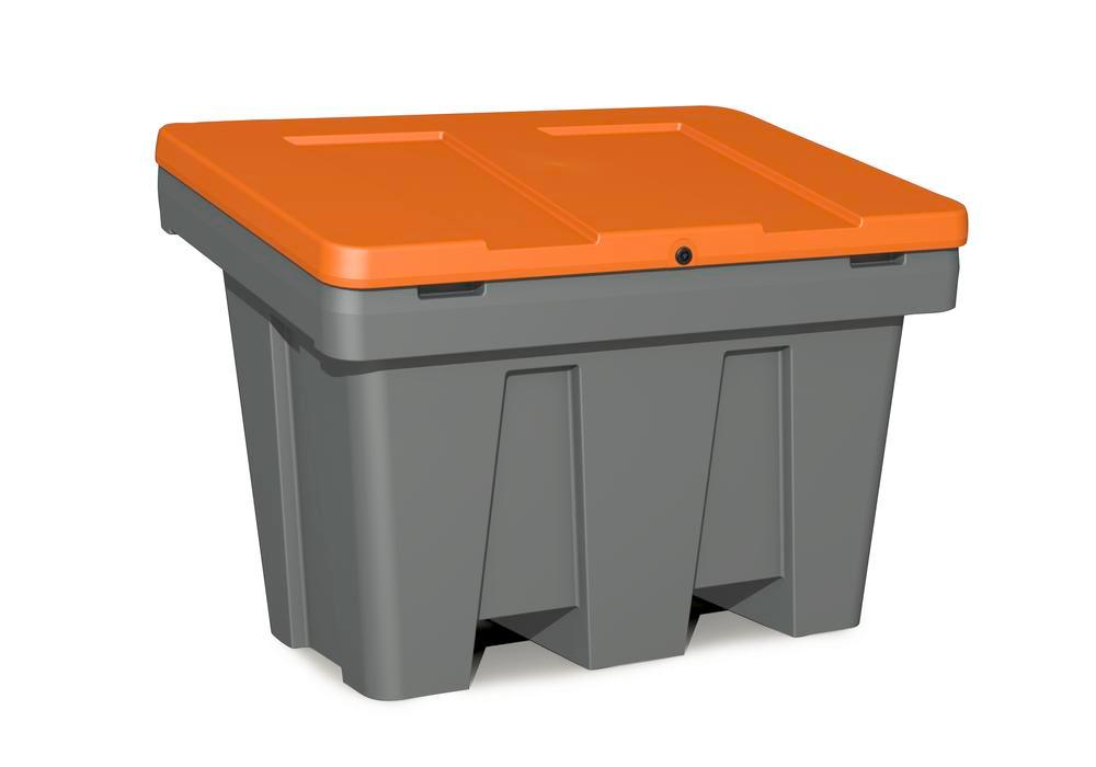 Streugutbehälter Typ GB 300 aus Polyethylen (PE), 300 Liter Volumen, Deckel orange